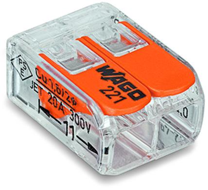 Клемма 2-х проводная WAGO (0,08-2,5мм) (221-412) – купить в СПб, низкая цена с доставкой